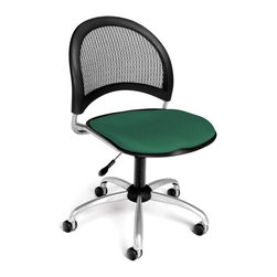 OFM - Moon Swivel Chair w Mesh Back and Contoured Cushion Seat (Black) - Color: Black. Swivel and seat height control. 16 In-stock colors. Triple Curve seat design. Replaceable stain-resistant seat cushions. Sturdy black polypropylene casters. Meets or Exceeds ANSI/BIFMA standards. Weight capacity: 250 lbs.. Pictured in Shamrock Green. Seat size: 18.5 in. W x 17.5 in. D. Back size: 19 in. W x 15.5 in. H. Seat height: 17 in. - 21 in. . Overall: 22 in. W x 22.5 in. D x 33.5-37 in. H