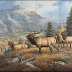 The Tile Mural Store (USA) - Tile Mural - Aspen Meadow - Kitchen Backsplash Ideas - This beautiful artwork by Judy Gibson has been digitally reproduced for tiles and depicts Elk with a mountain backdrop.  Our elk tile murals and our tiles with deer are perfect as part of your kitchen backsplash or your tub and shower surround bathroom tile project. Elk images on tiles and images of deer on tiles add a unique element to your bathroom tiling project as well. Consider a tile mural of a woodland scene for any wall tile project.