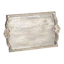 Abigails - Vendome Silver Leaf Tray with Antiqued Mirror, Large - A nice sized tray with silver leaf wooden frame and faux antiqued mirror bottom.