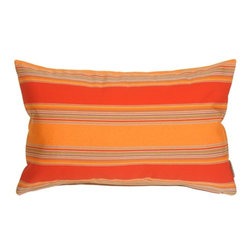 Pillow Decor - Pillow Decor - Sunbrella Bravada Salsa Outdoor Pillow - Wow, this pillow features and eye catching combo of wide horizontal stripes in red and orange. Versatile rectangular shape adds comfort to a chair or chaise lounge. Sunbrella's beautiful line of outdoor fabrics make these outdoor pillows stylish and practical. Coordinates easily with the other patterns and solids in the series.