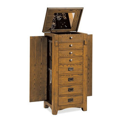 Adarn Inc - Transitional Oak Mission Jewelry Armoire Chest Drawers Side Doors Organizer - Molded in the arts and crafts tradition, this oak jewelry armoire is a delightful addition to Mission styles of decor. Rustic yet charming, a visible wood grain washed in a golden oak finish instantly warms up any space. An emerald green lining creates a beautiful contrast to the oak finish and provides a protective surface for safekeeping of jewelery and keepsake items. Touch latches on the side doors enhance the functionality of this jewelry chest. Eight fully lined compartments offer ample storage for rings, earrings, bracelets and more, with two swing out side doors perfectly proportioned to accommodate necklaces and chains.