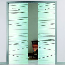 Etched Glass Pocket Sliding Door -