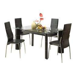 Homelegance - Homelegance Wilner 5-Piece Dining Room Set in Dark Cherry - The contemporary design of the Wilner collection will add flair to your modern home. From the tops of the oblong column legs reach metal supports that suspend the decorative shelf under beveled glass. black bi-cast vinyl with white baseball stitching covers the table and chairs of this distinct dining collection .