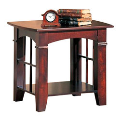Coaster - Coaster Abernathy End Table in Cherry - Coaster - End Tables - 700007 - This casual contemporary end table will add great style and functionality to your living room perfect placed next to a chair or sofa. The table's arched sides with open grid work offer a subtle and sophisticated mission influence. Place a lamp or your favorite decorative items on this table for a personal touch in your space. A lower shelf offers more space for decorative items. Create a casual contemporary look in your living room with the Abernathy collection. This group of end tables features a warm style with gently arched sides and a repeating open grid motif. Add your own decorative items for a unique look and personal style.