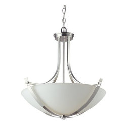 Z-Lite - Z-Lite 605P Ellipse 3 Light Bowl Shaped Pendant - With stunning chrome arms that flow throughout, this pendant is a masterpiece of contemporary design. A matte opal shade creates a soft modern glow, while the beautiful chrome detailing makes for a bold and cutting edge statement.Features: