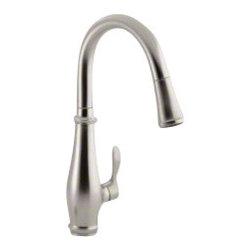 KOHLER - KOHLER K-780-VS Cruette Single-Hole or Three-Hole Pull-Down Kitchen Sink Faucet - KOHLER K-780-VS Cruette Single-Hole or Three-Hole Pull-Down Kitchen Sink Faucet in Vibrant Stainless