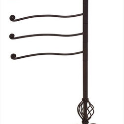 "Imax Worldwide Home - Iron Swing Arm Towel Holder - Enticing New Orleans Victorian, iron, swing arm, towel rack; Country of Origin: China; Weight: 10.6 lbs; Dimensions: 47.25""h x 30.5""w x 12.75""d"