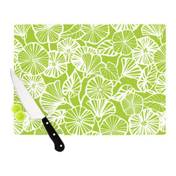"""Kess InHouse - Jacqueline Milton """"Vine Shadow - Lime"""" Green Floral Cutting Board (11"""" x 7.5"""") - These sturdy tempered glass cutting boards will make everything you chop look like a Dutch painting. Perfect the art of cooking with your KESS InHouse unique art cutting board. Go for patterns or painted, either way this non-skid, dishwasher safe cutting board is perfect for preparing any artistic dinner or serving. Cut, chop, serve or frame, all of these unique cutting boards are gorgeous."""
