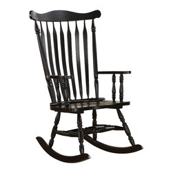 Monarch Specialties - Monarch Specialties I 1510 Black Oak Traditional Rocking Chair - Whether you are a new mom looking to soothe a baby or just want a place to sit and relax, this traditional styled wooden rocking chair will be a lovely addition to your home. This high back��_��__rocker has a curved shaped top and is finished in a rich black oak. Soft curved arms frame the seat, with turned spindle supports. Turned legs above the wood rocker base complete this charming look and add the perfect touch of warm tradition. Rocking Chair (1)