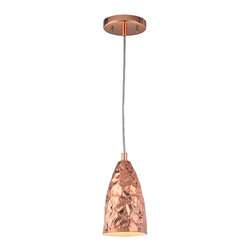 ELK Lighting - Hammersmith 1 Light Pendant in Polished Copper - A free-form hammered surface gives the polished chrome or copper finishes a textural metallic shimmer. This collection of pendants offers unique shapes for use within a wide range of decors.