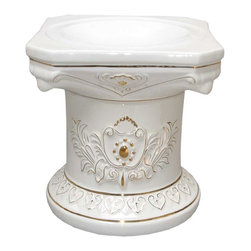 Renovators Supply - Planters White w/ Gold Ceramic Ornate Pedestal 15.5 H x 15 Dia - Ceramic Pedestals make for a luxurious decor indoor or out. Use this decorative column as a plant stand or other architectural element in a room, outside patio or balcony. Showcase a favorite plant or bouquet of flowers.