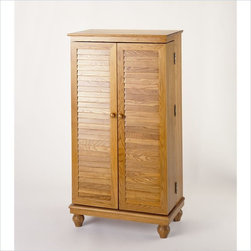 Leslie Dame - Leslie Dame CD/DVD Media Storage Cabinet with Louvered Door in Oak - Leslie Dame - CD & DVD Media Storage - CD612V - The Enterprises Oak Louvered Door Media Storage Cabinet is a stylish yet practical way to organize your music and movie collections. The louvered doors turned legs and classic round knob hardware give this media cabinet an enchanting yet contemporary appeal.