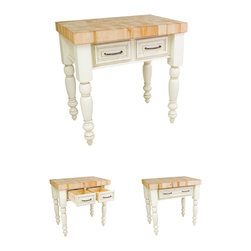 "Hardware Resources - Lyn Design Kitchen Island - Kitchen Island by Lyn Design. End Grain Maple Butcher Block Top Included. Featuring soft close undermount slides on drawers. Legs ship knockdown. DIMENSIONS: 36"" x 24"" x 36"" FINISH:AWH Antique White with 317-128DBAC hardware. -"