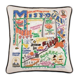 CATSTUDIO - Missouri State Pillow by Catstudio - Celebrate the states! These pillows from Catstudio's Geography Collection are delightful keepsakes for remembering the hometown you grew up in or commemorating your favorite vacation spot. Embroidered entirely by hand (over 35 hours go into each one!) with black velvet piping, these make the perfect gift for all occasions! Removable cotton cover and polyfill pillow form. Cover is dry clean only.