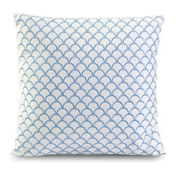 IMAX CORPORATION - Suryan Embroidered Accent Pillow - Blue embroidery creates a shell inspired pattern in the Suryan accent pillow, made with 100% cotton. Find home furnishings, decor, and accessories from Posh Urban Furnishings. Beautiful, stylish furniture and decor that will brighten your home instantly. Shop modern, traditional, vintage, and world designs.