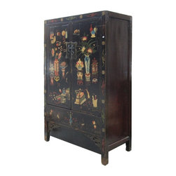 Golden Lotus - Chinese Lacquer Color Vase Graphic Armorie Storage Cabinet - This is a storage free standing cabinet with black lacquer base color and colorful vases, treasure flower graphic. It is an old cabinet restored. Its finish is not perfect, but it provides a vintage accent. The shelves can be removed, the cabinet can be used as a TV cabinet.