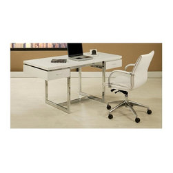 Pastel - 2-Pc Office Desk Set in White Finish - Includes office chair and rectangular desk. Contemporary style. Matte white finished wooden table top. Two self closing drawers. Clean-lined chrome finished metal frame. Chair with ivory PU upholstery. Adjustable tilt tension control and lift. Adjustable seat height. Chrome and aluminum frame with wheel casters. Warranty: One year. No assembly required. Arm height: 28.5 in. - 30.25 in.. Chair base: 26 in. Dia.. Seat: 19.5 in. W x 18.5 in. D x 19.5 in. - 21.75 in. H. Chair: 26 in. W x 26 in. D x 38.25 in. - 41 in. H (40.13 lbs.). Table: 62 in. W x 28 in. D x 30 in. H (175.6 lbs.)