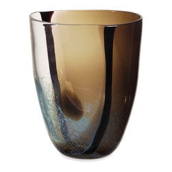 Smoky Brown Glass Vase - *With a pattern of swirling lines and calm, earth tones, the Tsiari glass vase adds a touch of contemporary flair to any home.