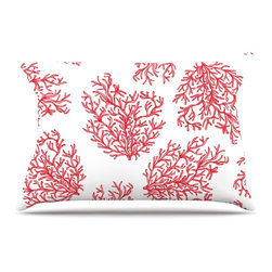 "Kess InHouse - Anchobee ""Coral"" Red White Pillow Case, King (36"" x 20"") - This pillowcase, is just as bunny soft as the Kess InHouse duvet. It's made of microfiber velvety fleece. This machine washable fleece pillow case is the perfect accent to any duvet. Be your Bed's Curator."