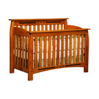 Chelsea Home Furniture - Chelsea Home Canterbury Crib in Medium Cherry - If children go through stages as they grow, so should their furniture. The Canterbury Convertible Crib Set is a solid wood 3-stage bed system that is constructed with quality and durability to transition any newborn into adulthood with elegance. The crib set, shown with Sap Cherry wood and Medium Cherry Stain, is built in classic Mission style, which originated in the early 19th century, highlighting simple vertical and horizontal lines and utilizing the natural wood grain detail. This CPSC 16 CFR 1219 and 1220 compliant convertible piece is complete with guard rail and 3-level mattress support, and simple transition instructions to keep your child resting easy and comfortable.