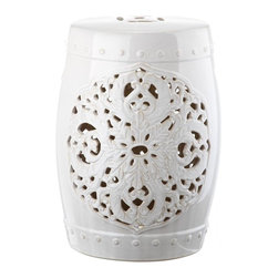 Safavieh - Valencia Garden Stool - Exquisitely crafted, the Valencia light blue ceramic garden stool features a pierced leaf medallion motif of Asian inspiration. Replete with lucky coin top detail and ceramic nailheads, Valencia is a timeless beauty.