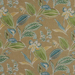 Green Blue Gold Beige Floral Leaf Indoor Outdoor Upholstery Fabric By The Yard - This upholstery grade fabric can be used for all indoor and outdoor applications. It is Scotchgarded, and is mildew, fade, water, and bacteria resistant. This fabric is made in America!