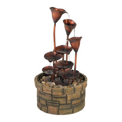 """Lamps Plus - Cascading Leaves Fountain - A beautiful cascade of water is created with a composition of nature inspired elements in this indoor/outdoor fountain. The three metal flowers and five lilypad leaves have a faux copper finish. This lovely tiered display is situated in a cast resin faux stone finish reservoir. River rocks are included. Copper finish metal. Faux stone finish cast resin. River rocks are included. Water pump is included. One year warranty. For indoor/outdoor use. Basin is 14 1/2"""" wide. 27"""" high.  Cascading leaves fountain.  Copper finish metal.  Faux stone finish cast resin.  River rocks are included.  Water pump is included.  One year warranty.  For indoor/outdoor use.  Basin is 14 1/2"""" wide.  27"""" high."""