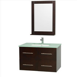 Wyndham Collection - Wyndham Centra Vanity Espresso - Simplicity and elegance combine in the perfect lines of the Centra vanity by the Wyndham Collection . If cutting-edge contemporary design is your style then the Centra vanity is for you - modern, chic and built to last a lifetime. Available with green glass, white carrera marble or pure white man-made stone counters, and featuring soft close door hinges and drawer glides, you'll never hear a noisy door again! The Centra comes with porcelain, marble or granite sinks and matching mirrors. The attention to detail on this beautiful vanity is second to none.