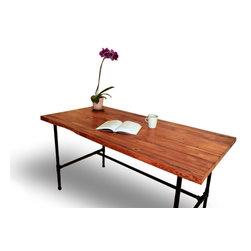 Pereida-Rice Woodworking - Butcher Block Industrial Table / Desk with Black Iron Legs, English Chestnut, 48 - A made-to-order piece from Pereida-Rice Woodworking