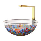 """ModoBath - Laguna Murrine Glass Vessel Sink 17.3"""" - Who says a sink has to be utilitarian? This deep vessel sink made in Italy from Murano glass is a jubilantly colorful work of art. It comes in two different sizes and designs."""