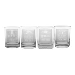 Rolf Glass - Rodeo DOF Gift Box Set (4 Different Designs) - Get along little dogie! Your cowboy and cowgirl friends alike will get a kick out of these rodeo-inspired glasses.