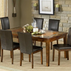 Steve Silver Co. - Davenport Slate Dining Table Set w Leaf & 6 P - Includes: Table & 6 Chairs. 12 in. leaf. Comfortably seats six people. Rich Cherry finish. Slate inlay. Contemporary style. Corner block construction. Tongue and groove joints. Select hardwood solids material. Some assembly required. Chocolate vinyl upholstery. 18 in. seat height. Expands to 72 in. L. Table: 60 in. L x 42 in. W x 30.5 in. H (176 lbs.). Chair: 19 in. L x 24 in. W x 38 in. H