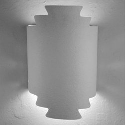 CDS Lighting Studio - Unfinished Bisque Zig Zag Handcut Wall Sconce - - The very special Zig Zag Handcut Half Round wall sconce was inspired from Native American rug designs. Each piece is individually, carefully, hand crafted and cut from our 14? tall half round model. The resulting effects are spectacular rays of light that cast an inviting glow to compliment any interior or exterior space.   - The unfinished ceramic bisque can be painted with latex or acrylic paint to match any d�cor. Primer is recommended when using an oil-based paint or spray paint. We recommend painting fixtures that will be used on the exterior of your home.   - Due to the handcrafted nature of our lights, each sconce is truly unique and is finished with a texture.   - Each of our wall sconces are made in the U.S.A. and are UL listed in the U.S.A. and Canada. CDS Lighting Studio - 123 200 400 90