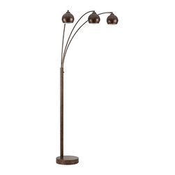 "Cal Lighting - Contemporary Friedmond Rust Metal 3-Light Arc Floor Lamp - With a rust finish this 3-light arc floor lamp's color palette fits well with earthy tones for a perfect complement. The lamp's simple curves create minimalistic appeal and add modernity to the lamp for a multi-stylistic appeal. The rounded heads combine vintage beauty with contemporary function for a gorgeous addition to any room. 3-light arc floor lamp. From the Friedmond collection. Rust finish. Metal construction. Adjustable arms and heads. Three maximum 60 watt or equivalent bulbs (not included). 3-way switch. 89"" high. 43"" reach. Shade is 6 1/2"" wide 5 3/4"" high. 14"" base footprint.    3-light arc floor lamp.  From the Friedmond collection.  Rust finish.  Metal construction.  Adjustable arms and heads.  Three maximum 60 watt or equivalent bulbs (not included).  3-way switch.  A Cal Lighting floor lamp design.  89"" high.  43"" reach.  Shade is 6 1/2"" wide 5 3/4"" high.  14"" base footprint."