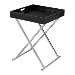 Sterling Industries - Serving Tray Table in Black - Modern design with flexibility. Chrome legs fold for storage and black faux croc tray top becomes a multi purpose serving tray. Use two in front of a sofa in place of a cocktail table.