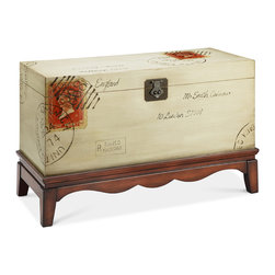 Madison Park - Madison Park Postage Trunk Chest - This antiqued white with walnut base accent trunk featuring its vintage postage stamp motif is a selection that is a true treasure rich in Old World traditions.