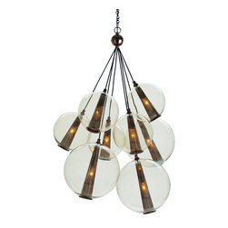 Arteriors Home - Arteriors Home Caviar Adj Lg Brown Nickel/Smoke Glass Cluster - Arteriors Home D - Drop this enchanting light from your ceiling and you'll think you've been blowing bubbles. Delicate glass spheres combine with threadlike polished nickel cords to give you an ethereal, romantic ambiance. This glass bouquet would look stunning in your foyer, dining room or living room. If you're very daring, hang one in your bath for an elegant, unusual design. You'll be forever blowing bubbles.