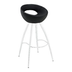 """LexMod - Persist Bar Stool in Black - Persist Bar Stool in Black - Patterns of discovery begin anew with the continuous design of the Persist modern bar stool. While your rendezvous with friends may seem to end, the freshly pressed memories are everlasting. For a design that has no end or beginning, Persist has a way of keeping every experience fresh and exciting. Made of chrome-plated stainless steel, and a tubular padded vinyl seat, live every moment as an essential part of every other. Set Includes: One - Persist Bar Stool Fits most bars and countertops, Easy wipe clean surface, Chrome plated steel frame, Tubular vinyl molded foam seat Pad , Non-marking feet, Assembly required Overall Product Dimensions: 16""""L x 17""""W x 34""""H Footrest Height: 10.5""""HBACKrest height: 7.5""""H Seat Height: 28""""H - Mid Century Modern Furniture."""