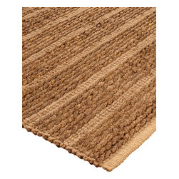 """Natural Area Rugs - """"New Wave"""" Jute Rug, Hand Loomed by Artisan Rug Maker - Free & Same Day Shipping within Continental USA. International Shipping Available (Contact us for a quote). This rug is carefully hand crafted by artisan rug makers with sustainably harvested jute, a fast-growing natural fiber. The fibers have a golden and silky shine and is truly an eco-friendly floor covering. Incredibly soft and warm, Jute rugs looks great in any room. It's durability makes it great to be placed in high traffic areas as they do not wear easily. Rug pads are recommended as it will ensure the longevity of your jute rug. Variations are part of the natural beauty of natural fiber."""