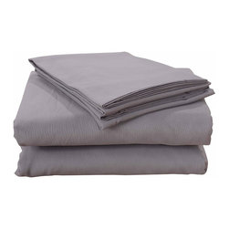 Honeymoon - Honeymoon Breathable Soft Egyptian Cotton 4PC Bed Sheet Set, Alloy, Queen - 55% Cotton 45% Polyester