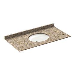 LessCare - 49x22 Wheat Granite Vanity Countertops - 4 Faucet Spread - *Condition: New