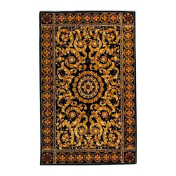 Safavieh - Black and Gold Border Rug with Center Medallion (2 ft. 6 in. x 4 ft. 6 in) - Size: 2 ft. 6 in. x 4 ft. 6 in. Hand Tufted. Made of Wool. Exquisite traditional rugs inspired by classic beauty and current enough for everyday decors. Twists of rope and classic floral design elements in vivid shades of gold tone and honey bring a classic, enduring style to this hand tufted wool rug, highlighted by a black backdrop and a center medallion for added visual interest. The rug will bring long lasting beauty to any interior design.