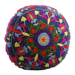 Navy Blue Medallion Round Floor Pillow - Sitting on the floor has never been more comfortable or colorful. This cheery, hand-embroidered floor pillow makes your game nights on the living room rug more fun and festive. When not in use, pile a few in the corner or prop up on the sofa for a kaleidoscope of color.