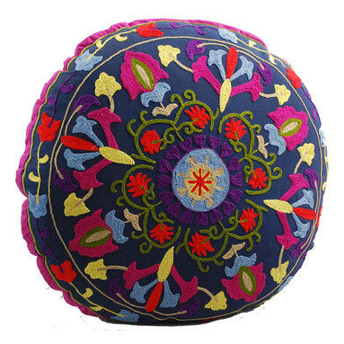 Modelli Creations - Navy Blue Medallion Round Floor Pillow - Sitting on the floor has never been more comfortable or colorful. This cheery, hand-embroidered floor pillow makes your game nights on the living room rug more fun and festive. When not in use, pile a few in the corner or prop up on the sofa for a kaleidoscope of color.