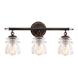 """Kalco - Iron Brierfield 21"""" Wide Antique Copper 3-Light Bath Light - 3-light glass and iron bath light. Antique copper finish. Glass and iron accents. Three clear insulator glass shades. Three maximum 100 watt or equivalent medium base bulbs (not included).  21"""" wide. 10 1/4"""" high. Extends 6 1/4"""" from wall.        3-light glass and iron bath light.  Antique copper finish.  Glass and iron accents.  Three clear insulator glass shades.  Three maximum 100 watt or equivalent medium base bulbs (not included).  21"""" wide.  10 1/4"""" high.  Extends 6 1/4"""" from wall."""