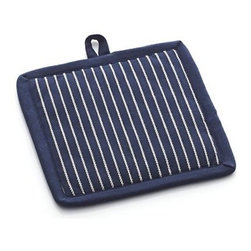 Carbon Blue Stripe Potholder - Heavy-duty cotton potholder in deep navy with white vertical pinstriping is a classic kitchen essential. Sanforized potholder with terry lining is outfitted with a handy hanging loop. May be used as a trivet.