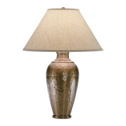 Robert Abbey - Robert Abbey Foundry Vertically Gifted Pot Table Lamp 9939KCOP - Copper Finish over Cast Metal