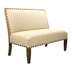 Kathy Kuo Home - French Country Cottage Light Linen Banquette Dining Settee - High contrast meets high style in the lines of this elegant bench, accented with brass tack upholstery details.  With clean lines and a relaxed attitude, this piece has French Country style and Rustic Lodge appeal. This terrific piece would work wonders as a settee or banquette seating at a large dining table.