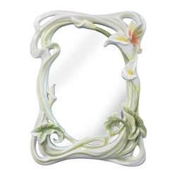 US - 11.5 Inch White Rectangular Porcelain Mirror Yellow Lily Butterfly - This gorgeous 11.5 Inch White Rectangular Porcelain Mirror Yellow Lily Butterfly has the finest details and highest quality you will find anywhere! 11.5 Inch White Rectangular Porcelain Mirror Yellow Lily Butterfly is truly remarkable.