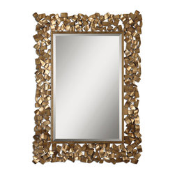 Uttermost - Capulin Antique Gold Mirror - Spread the sunshine with this elegant, regal mirror. It will open up a room bringing extra light and hung above a contemporary buffet or console, this artistic mirror will balance the style in your dining room or living room.